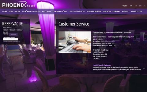 Screenshot of Support Page hotelphoenix.hr - CUSTOMER SERVICE - Hotel Phoenix - captured Sept. 25, 2018