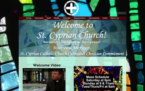 Screenshot of Home Page stcyprian.com - St. Cyprian Catholic Church - captured Aug. 12, 2015