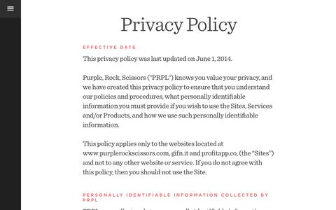 Screenshot of Privacy Page purplerockscissors.com - PRPL | Purple, Rock, Scissors: A Digital Creative Agency in Orlando - captured Sept. 23, 2014