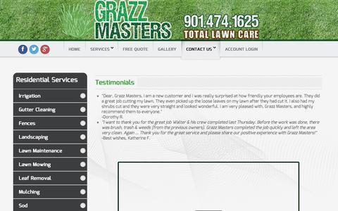 Screenshot of Testimonials Page grazzmasters.com - Testimonials - captured Oct. 3, 2014