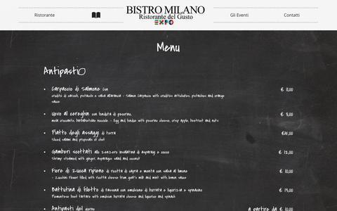 Screenshot of Menu Page bistromilano.it - BISTRO MILANO - captured March 3, 2016