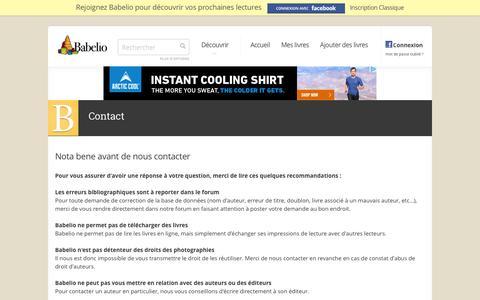 Screenshot of Contact Page babelio.com - Babelio - Découvrez des livres, critiques, extraits, résumés - captured July 28, 2016