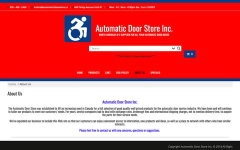Screenshot of About Page automaticdoorstore.ca - About Us – Automatic Door Store Inc. - captured Oct. 4, 2018
