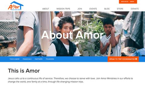 Screenshot of About Page amor.org - About Us - Mission Trips with Amor Ministries - captured March 30, 2016