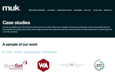 Screenshot of Case Studies Page marketinguk.co.uk - Case studies - Marketing UK - captured Oct. 30, 2014