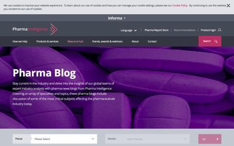 Screenshot of Blog informa.com - Pharmaceutical Blog l Pharma Intelligence - captured Jan. 21, 2020