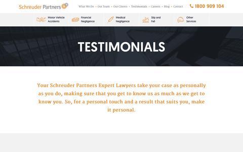 Screenshot of Testimonials Page schreuderpartners.com.au - Compensation Lawyer Testimonials - Schreuder Partners - captured Feb. 4, 2016