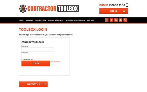 Screenshot of Login Page contractortoolbox.com.au - Toolbox Login - captured Sept. 30, 2014