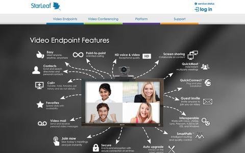 Screenshot of Products Page starleaf.com - Video Endpoint Features | StarLeaf - captured Nov. 5, 2014