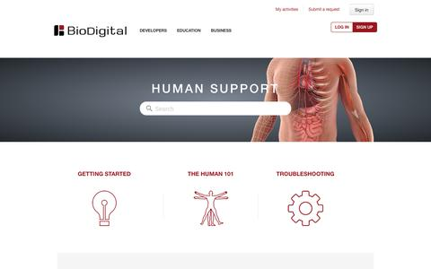 Screenshot of Support Page biodigital.com - Human Support - captured May 15, 2016