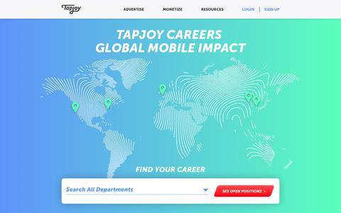 Screenshot of Jobs Page tapjoy.com - Tapjoy Careers Global Mobile Impact - tapjoy.com - captured June 22, 2019