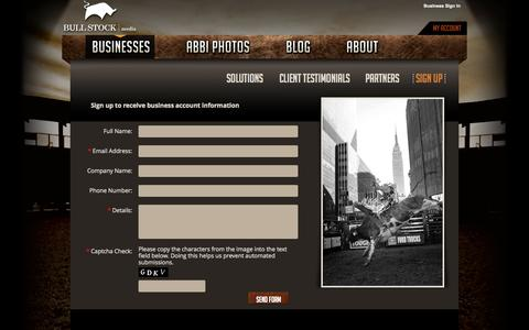 Screenshot of Signup Page bullstockmedia.com - Sign Up | Bull Stock Media - Bull and Rodeo Photography - captured Oct. 5, 2014