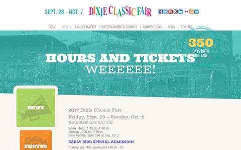 Screenshot of Hours Page dcfair.com - Hours and Tickets - Dixie Classic Fair - captured Oct. 12, 2017