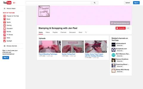 Screenshot of YouTube Page youtube.com - Stamping & Scrapping with Jen Peel  - YouTube - captured Nov. 5, 2014
