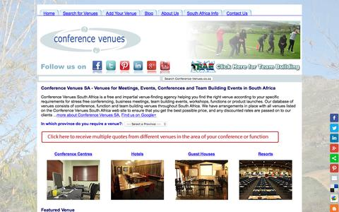 Screenshot of Home Page conference-venues.co.za - Conference Venues SA - Venues for Meetings, Events and Conferences - captured Jan. 30, 2016