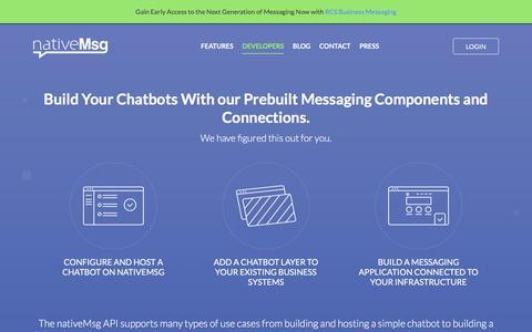 Screenshot of Developers Page nativemsg.com - Developers. Chatbots Made Simple. nativeMsg- - captured July 10, 2018
