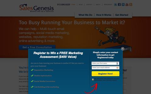 Screenshot of Home Page salesgenesis.com - Sales Genesis - captured Sept. 30, 2014