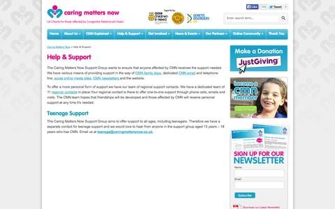 Screenshot of Support Page caringmattersnow.co.uk - Help & Support - Caring Matters Now - captured Sept. 29, 2014