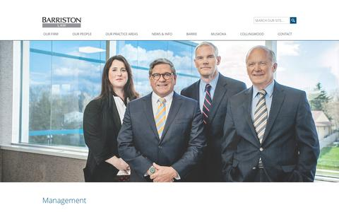 Screenshot of Team Page barristonlaw.com - Our Management Team | Barriston LLP - captured Oct. 10, 2017