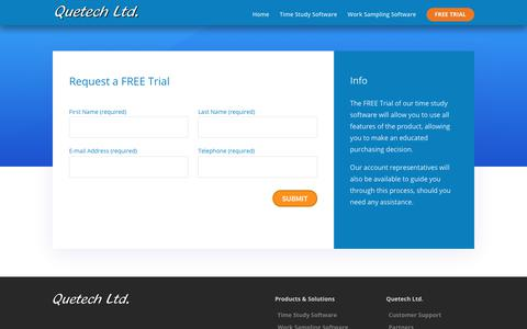 Screenshot of Trial Page quetech.com - Free Trial of WorkStudy+ for Time Study and Work Sampling - Quetech Ltd. - captured Nov. 2, 2018