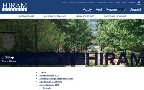 Screenshot of Site Map Page hiram.edu - Hiram College | Sitemap - captured Sept. 23, 2018