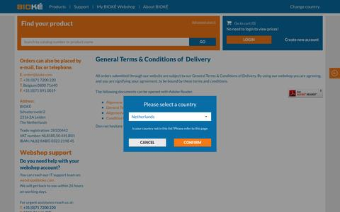 Screenshot of Terms Page bioke.com - General Terms & Conditions of Delivery - BIOKÉ - captured May 31, 2017