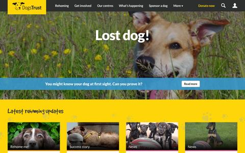 Screenshot of Home Page dogstrust.org.uk - Home - Dogs Trust - captured Oct. 1, 2015
