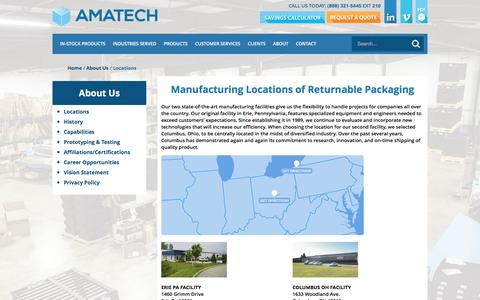 Screenshot of Locations Page amatechinc.com - Manufacturing Locations of Returnable Packaging - Amatech, Inc. - captured July 25, 2016