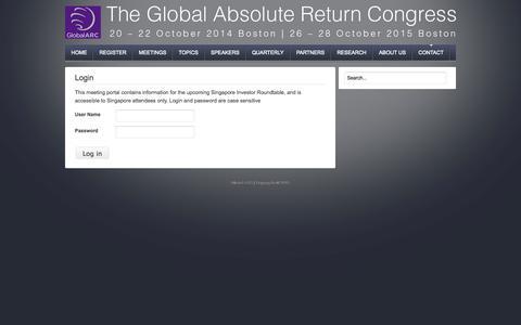 Screenshot of Login Page global-arc.net - Login - captured Nov. 5, 2014