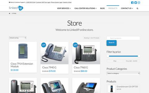 Screenshot of Products Page linkedip.com - IP phones from Cisco, Grandstream, Polycom and more - captured Oct. 21, 2018