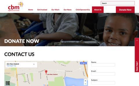 Screenshot of Contact Page cbm-nz.org.nz - Contact cbm NZ | Donation Website NZ | Eye Charity NZ - captured June 3, 2016