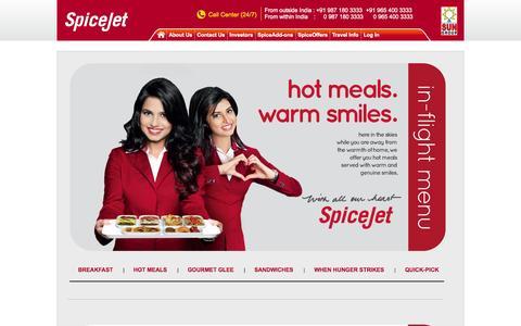 Screenshot of Menu Page spicejet.com - Enjoy Fine Restaurant Quality Dining with SpiceJet - captured Sept. 18, 2014