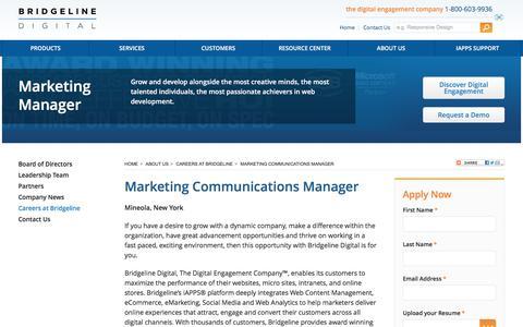 Screenshot of Jobs Page bridgelinedigital.com - Marketing Manager Bridgeline Digital Corporate | Bridgeline Digital - captured Sept. 28, 2017