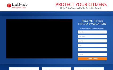 Screenshot of Landing Page lexisnexis.com - Protect your citizens - Help put a stop to Public Benefits Fraud. - captured April 10, 2017