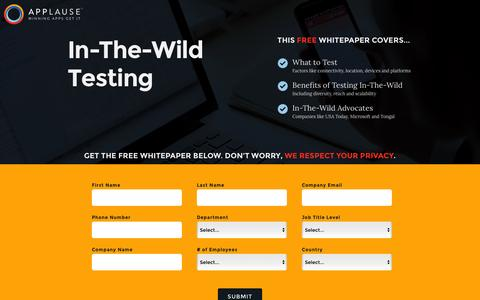 Screenshot of Landing Page applause.com - In-The-Wild Testing Whitepaper - Applause: 360° App Quality - captured Aug. 12, 2016
