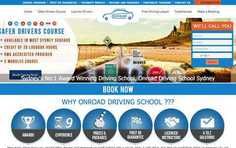 Screenshot of Home Page onroad.com.au - Onroad Driving School Sydney, Driving Lessons, Driving Instructors - captured Sept. 4, 2015