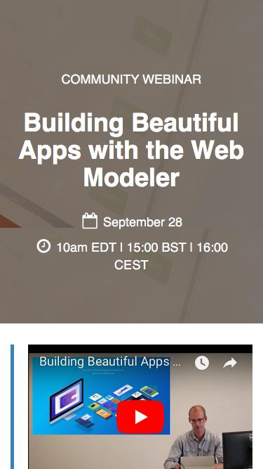 Community Webinar: Building Beautiful Apps with the Web Modeler