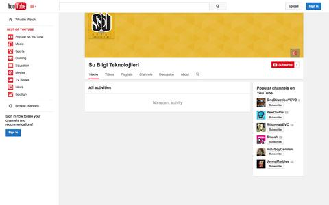 Screenshot of YouTube Page youtube.com - Su Bilgi Teknolojileri  - YouTube - captured Oct. 23, 2014