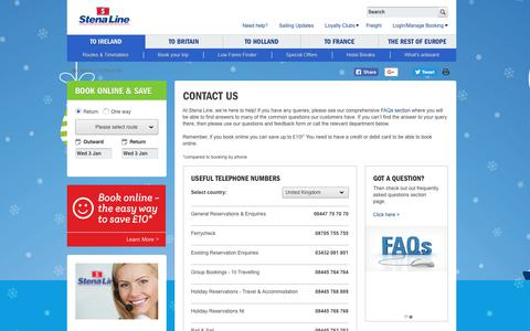 Screenshot of Support Page stenaline.co.uk - Customer Services and Booking Contacts   Stena Line - captured Jan. 3, 2018