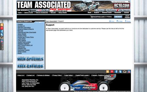 Screenshot of Support Page teamassociated.com - Support: Team Associated - Champions By Design - Nitro and Electric RC Cars - captured Sept. 24, 2014