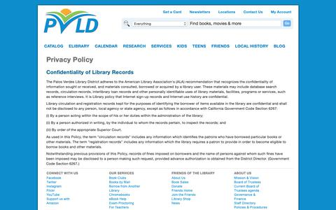 Screenshot of Privacy Page pvld.org - Privacy Policy | Palos Verdes Library District - captured Sept. 26, 2018