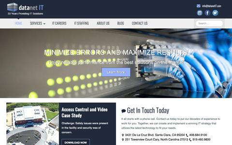 Screenshot of Home Page datanetit.com - IT Solutions in Santa Clara, CA and Raleigh, NC | datanet IT - captured Dec. 9, 2018