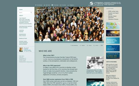 Screenshot of About Page ctbto.org - Who We Are: CTBTO Preparatory Commission - captured Sept. 19, 2014
