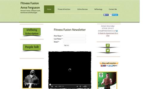 Screenshot of Home Page fitness-fusion.co.uk - Personal Training and Nutrition with Anna Ferguson celebrity trainer online or in person. - captured Jan. 8, 2016