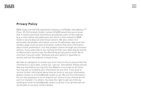 Screenshot of Privacy Page bandb-studio.co.uk - Privacy Policy | B&B Studio - captured Sept. 26, 2018