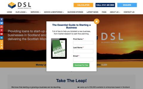 Screenshot of Home Page dsl-businessfinance.co.uk - Business Loans for Start up and Existing Businesses Scotland - captured Aug. 5, 2018