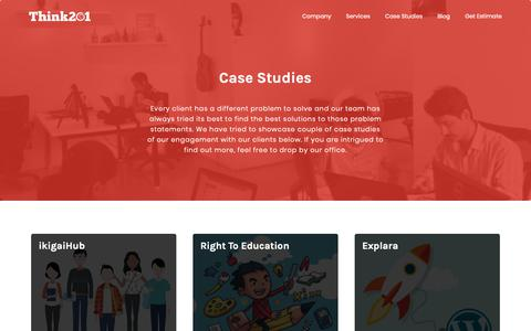 Screenshot of Case Studies Page think201.com - Client Technology Solution Case Studies - Think201 | Think201 - captured Oct. 21, 2018