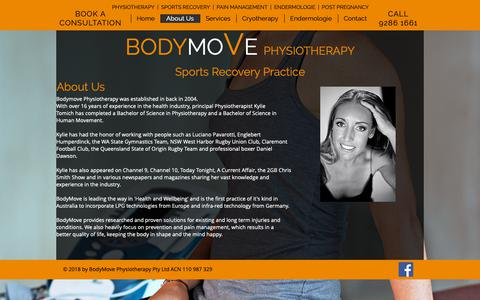 Screenshot of About Page bodymove.com.au - About Us | BodyMove Physiotherapy - captured Oct. 6, 2018