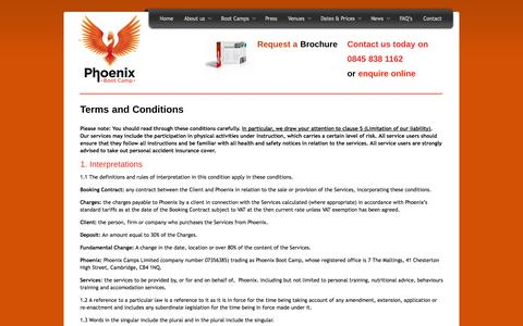 Screenshot of Terms Page phoenixbootcamp.co.uk - Terms and Conditions | Phoenix Boot Camp - captured Sept. 29, 2014