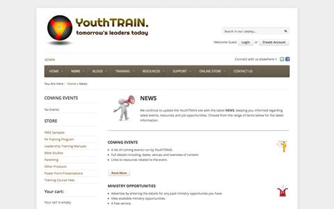 Screenshot of Press Page youthtrain.com - News | YouthTRAIN - captured Oct. 9, 2014